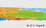 Physical Panoramic Map of East Sepik, political outside