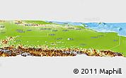 Physical Panoramic Map of East Sepik