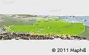 Physical Panoramic Map of East Sepik, semi-desaturated