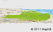 Physical Panoramic Map of East Sepik, shaded relief outside