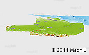 Physical Panoramic Map of East Sepik, single color outside