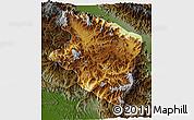 Physical 3D Map of Eastern Highlands, darken