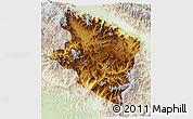 Physical 3D Map of Eastern Highlands, lighten