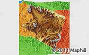 Physical 3D Map of Eastern Highlands, political outside