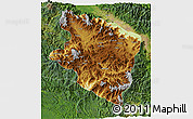 Physical 3D Map of Eastern Highlands, satellite outside