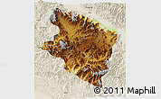 Physical 3D Map of Eastern Highlands, shaded relief outside