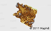 Physical 3D Map of Eastern Highlands, single color outside