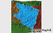 Political 3D Map of Eastern Highlands, darken