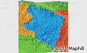 Political 3D Map of Eastern Highlands