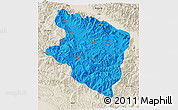 Political 3D Map of Eastern Highlands, shaded relief outside