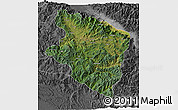 Satellite 3D Map of Eastern Highlands, desaturated