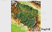 Satellite 3D Map of Eastern Highlands, physical outside