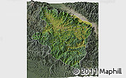 Satellite 3D Map of Eastern Highlands, semi-desaturated