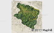 Satellite 3D Map of Eastern Highlands, shaded relief outside