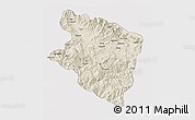 Shaded Relief 3D Map of Eastern Highlands, cropped outside