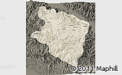 Shaded Relief 3D Map of Eastern Highlands, darken