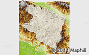 Shaded Relief 3D Map of Eastern Highlands, physical outside