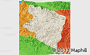 Shaded Relief 3D Map of Eastern Highlands, political outside