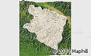 Shaded Relief 3D Map of Eastern Highlands, satellite outside