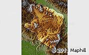 Physical Map of Eastern Highlands, darken