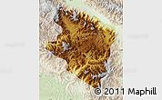 Physical Map of Eastern Highlands, lighten