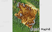 Physical Map of Eastern Highlands, satellite outside