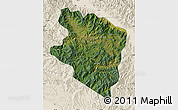 Satellite Map of Eastern Highlands, shaded relief outside