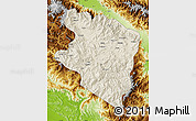 Shaded Relief Map of Eastern Highlands, physical outside