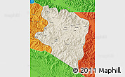 Shaded Relief Map of Eastern Highlands, political outside