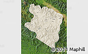 Shaded Relief Map of Eastern Highlands, satellite outside