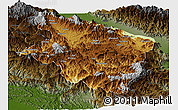 Physical Panoramic Map of Eastern Highlands, darken