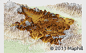 Physical Panoramic Map of Eastern Highlands, lighten