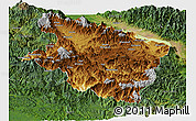 Physical Panoramic Map of Eastern Highlands, satellite outside