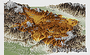 Physical Panoramic Map of Eastern Highlands, semi-desaturated