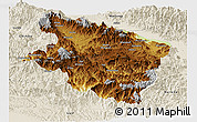 Physical Panoramic Map of Eastern Highlands, shaded relief outside