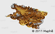 Physical Panoramic Map of Eastern Highlands, single color outside