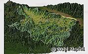 Satellite Panoramic Map of Eastern Highlands, darken