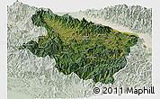 Satellite Panoramic Map of Eastern Highlands, lighten