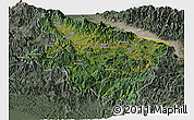 Satellite Panoramic Map of Eastern Highlands, semi-desaturated