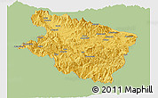 Savanna Style Panoramic Map of Eastern Highlands, single color outside