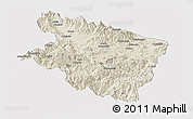 Shaded Relief Panoramic Map of Eastern Highlands, cropped outside