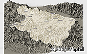 Shaded Relief Panoramic Map of Eastern Highlands, darken