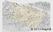Shaded Relief Panoramic Map of Eastern Highlands, desaturated