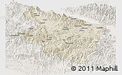 Shaded Relief Panoramic Map of Eastern Highlands, lighten