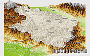 Shaded Relief Panoramic Map of Eastern Highlands, physical outside