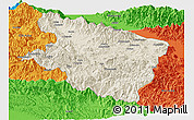 Shaded Relief Panoramic Map of Eastern Highlands, political outside