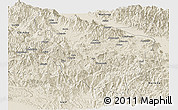 Shaded Relief Panoramic Map of Eastern Highlands