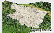 Shaded Relief Panoramic Map of Eastern Highlands, satellite outside