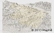 Shaded Relief Panoramic Map of Eastern Highlands, semi-desaturated