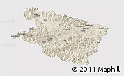 Shaded Relief Panoramic Map of Eastern Highlands, single color outside